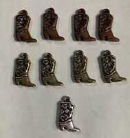 Nine Lightweight COWBOY BOOT CHARM PENDANTS For Jewelry Favors Crafts