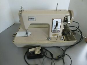 Old Vintage Brother Beige Metal Sewing Machine with Case Working