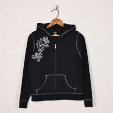 SJB Active St. John's Bay Black Floral Print Hooded Hoodie Sweatshirt Jacket PM