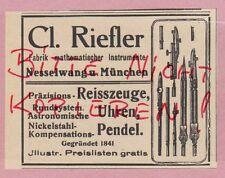 NESSELWANG, Werbung 1925, Clemens Riefler Fabrik mathe Instrumente Pendel Uhr