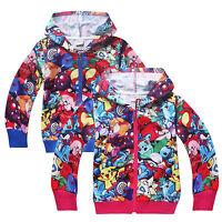 Toddler Boys Girls Long Sleeve Pokemon Hooded Sweatshirt Casual Coat Jacket Tops