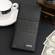 Men's Classic Long Genuine Leather Large Wallet ID Card Purse Checkbook Billfold