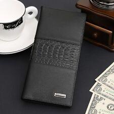 Long Men's Genuine Leather Bifold Wallet ID Card Holder Clutch Checkbook Handbag