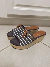 Women's Sperry TopSider Blue & White Stripe Nautical Wedge Heel Sandals Sz 7.5