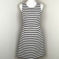J. Crew Factory Women's Shift Dress Size 2 Blue Striped Cotton Nautical