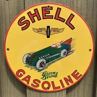 VINTAGE SHELL GASOLINE PORCELAIN SIGN USA GREEN STREAK RACE CAR GAS PUMP PLATE