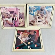 Set of (3) Medium Framed Pictures - Teddy Bears 14 X 13 Distressed White Frame