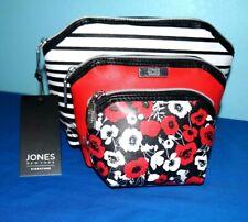 Jones New York Set of 3 Hexagon Zip Beauty Cosmetic Bags Red+White+Black $20 F/S