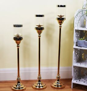 LUXURY EXCLUSIVE SET OF 3 GOLDEN PILLAR CANDLE HOLDER HOME DECOR CHRISTMAS GIFT