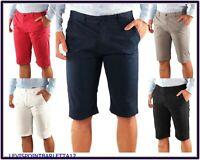Bermuda shorts slim da uomo in cotone pantalone corto rosso bianco grigio 50 52