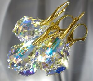 ORIGINAL CRYSTALS *AURORA GOLD* EARRINGS+PENDANT GOLD PLATED STERLING SILVER