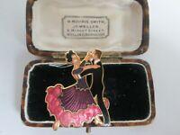 VINTAGE 22CT GOLDPLATED SIGNED ENAMEL BALLROOM DANCERS BROOCH SHAWL PIN