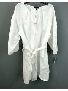 INC Womens White Belted Pocketed 3/4 Sleeve Tie Neck Dress Size: XL