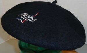 """WOMENS 95% WOOL BLACK """"PARIS"""" BERET HAT OSFM EMBROIDERED VERY GOOD CONDITION"""