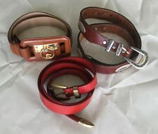 Lot Of 3 Genuine Leather Belts Vintage Brighton Brown Black Red