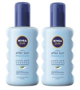 New 2 x Nivea Sun - After Sun Moisture Spray 200 ml Cooling & 48h Moisture