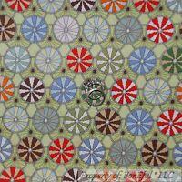 BonEful Fabric FQ Cotton Green Red White Pin*Wheel Dot VTG Peppermint Candy Xmas
