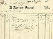 Antica Fattura Ottocentesca per Mercanzie di Adriano Bettazzi in Pistoia  1854