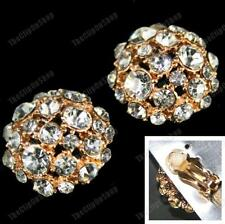 CLIP ON glass rhinestone BIG CRYSTAL EARRINGS large dome GOLD PLT diamante clips