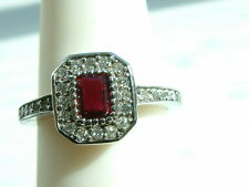 Lovely natural Ruby & Diamond Ring 3/4 ctw 14k solid white GOLD $2495