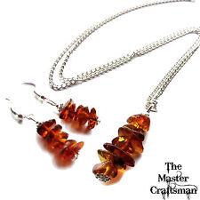 ☆ Authentique Miel Baltic Amber bijoux set Pendentif Boucles d'oreilles Chaîne Collier Argenté