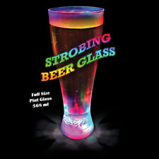 Strobing Light Up LED Beer Pint Glass Flashing Light Up Xmas Party BBQ Gift