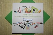 Handmade Personalised First Day At Secondary School Card Son Grandson Daughter