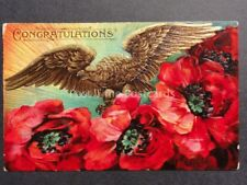 Embossed Poppies PC: CONGRATULATIONS Golden Eagle & Poppies, Donate to R.B.L.