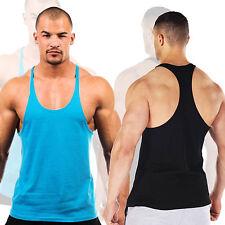 Solid Color Mens Bodybuilding Tank Top Gym Stringer Fitness Muscle Vest Y back