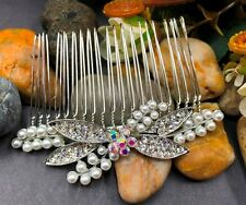 beautiful elegant wedding bridal hair comb pearl and crystal ha10219