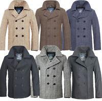 Brandit Herren Woll Mantel Pea Coat Jacke Parka Caban Marine Wintermantel B181