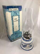 Vintage Lamplight Farms Oil Lamp Blue and White Ceramic Base Original Box