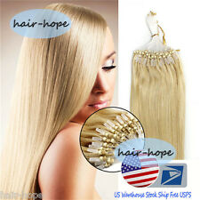 "Loop Micro Ring Beads Link 100% Remy Human Hair Extensions Medium Blonde 16""100S"