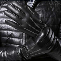 Leather Gloves Full Finger Mens Touch Screen Thermal Lined Phone Texting Gloves