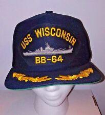 Vtg Uss Wisconsin Bb-64 Snapback Hat Battleship Navy Military Scrambled Eggs