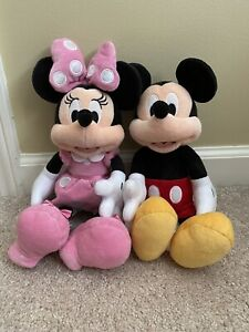 "Disney Store lot 2 Mickey and Minnie Mouse pink dress plush stuffed animals 12"""