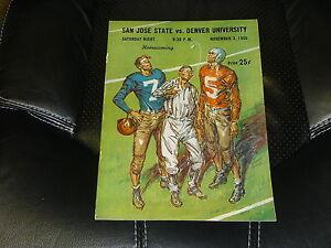 1956 DENVER AT SAN JOSE STATE COLLEGE FOOTBALL PROGRAM  EX-MINT