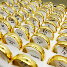 Rings for Men Women Wedding Bands Jewelry 50 Pcs Golden 6mm Top Stainless Steel