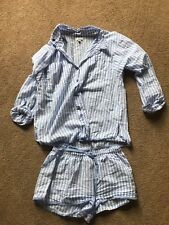 PJ Salvage BLUE WHITE STRIPE Knit Pajama SHORTS~TOP Set S