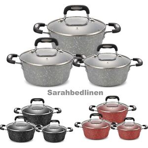 Cookware 6 Pieces Non Stick Cooking Saucepans Pots Set With Glass Ceramic/Marble