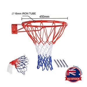 Pro Size Wall Mounted Basketball Hoop Ring Goal Net Rim Dunk Shooting Outdoor A