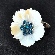 Bague fantaisie argenté fleur de nacre blanche cristal bleu T 54 56 bijou ring
