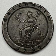 1797 Britannia 2 Pence F Fine George III Great Britain Copper Coin
