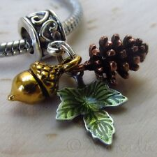 Autumn European Large Hole Charm - Copper Pine Cone, Gold Acorn And Green Leaf