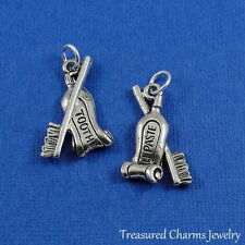 Silver TOOTHBRUSH AND TOOTHPASTE Dentist Dental Hygienist CHARM PENDANT