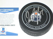 MILAN LUCIC Signed Official Edmonton OILERS GAME Puck w/ Beckett COA
