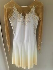 New listing White and Yellow Gold Ice Dancing Figure Skating Dress Adult Small