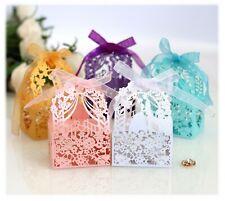 100X  Laser Cut Hallow Flower Bridal & Groom Candy Boxes Wedding Favor w/ Ribbon