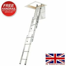 Abru Werner 38003 Aluminium Loft Ladder 3 Sections with Handrail UK Manufactured