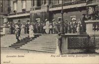 King & Queen England Coronation Review Buckingham Palace c1910 Postcard